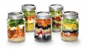vegetable salad in glass jar