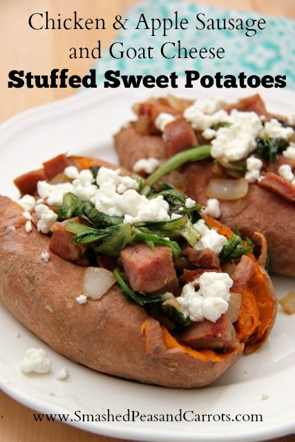 Chicken & Apple Sausage and Goat Cheese Stuffed Sweet Potatoes Recipe