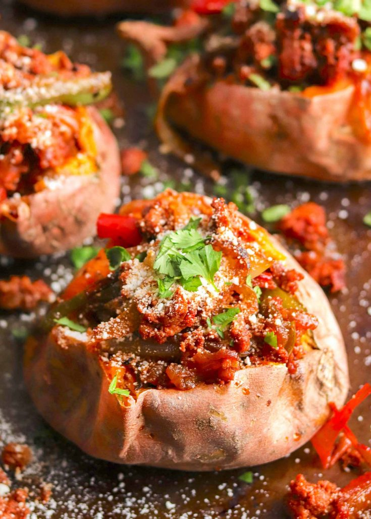 Chorizo-Stuffed Sweet Potatoes Recipe | SimplyRecipes.com