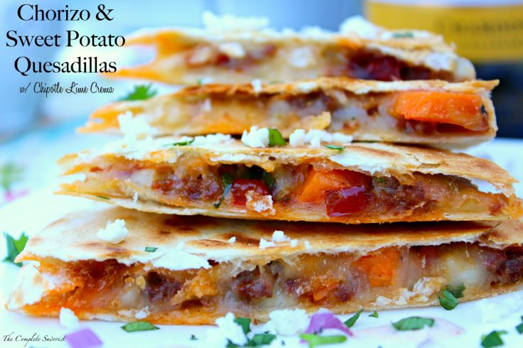 Chorizo and Sweet Potato Quesadillas with Chipotle Lime Crema