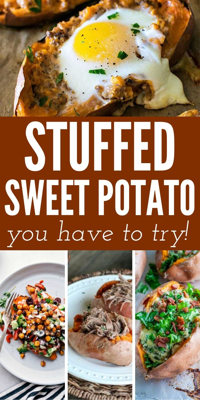 Your mouth is going to water when you see these Dinner Worthy Stuffed Sweet Potatoes. Jam-packed with flavor and nutrients you can't go wrong.  #sweetpotato #dinner #easy #quick #simple #lunch #breagettingfit