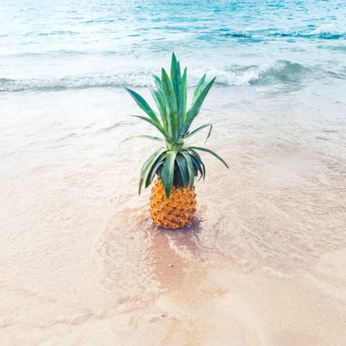 Pineapple in the shallow ocean water at the beach. Essential oils that smell like the beach