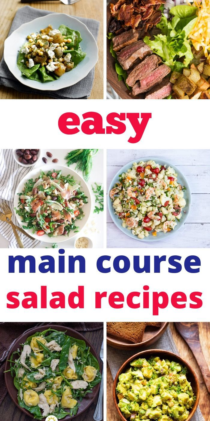 These incredible Main Course Salads are drool-worthy! Each one is healthy, filled with nutrients, and packed with yummy flavors. #salads #saladrecipe #recipes #easy #dinner #breagettingfit