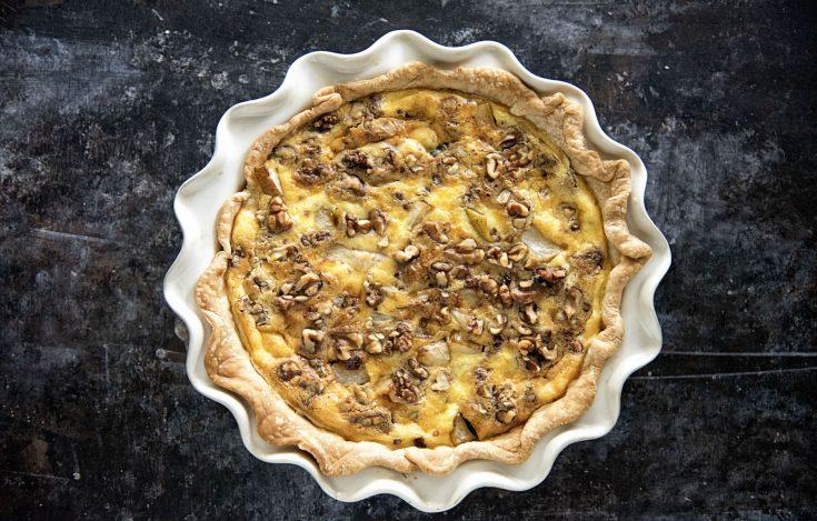 Vegetarian Pear Walnut Oregon Blue Cheese Quiche