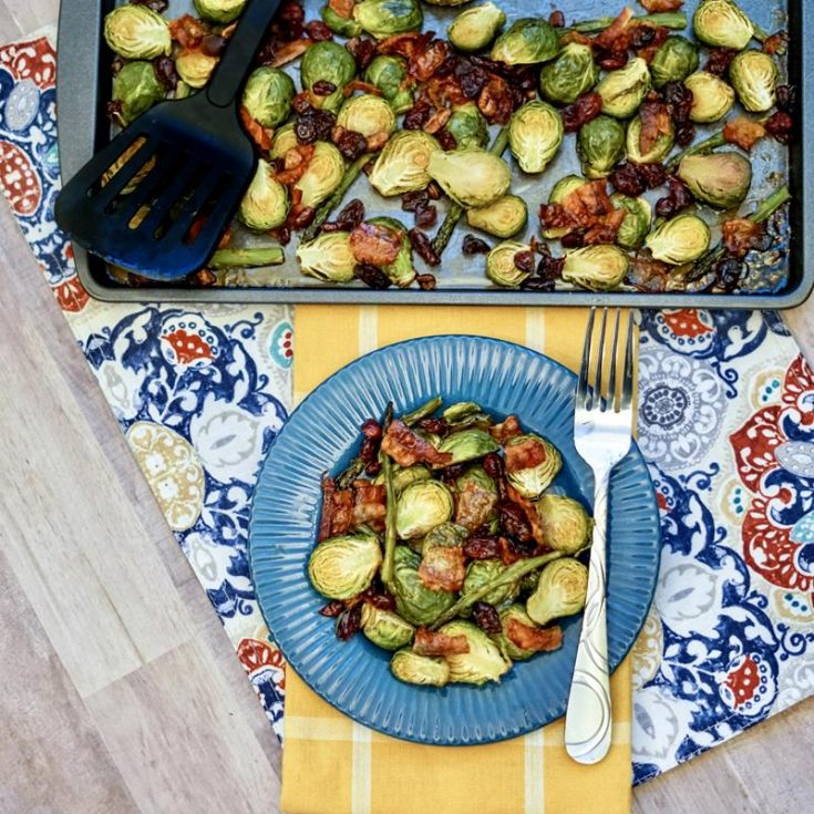 ROASTED BRUSSELS SPROUTS & ASPARAGUS WITH BACON & PECANS