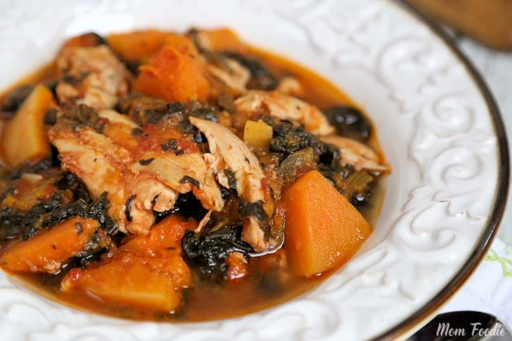 Whole 30 Slow Cooker Chicken Thighs w/ Butternut Squash + Spinach