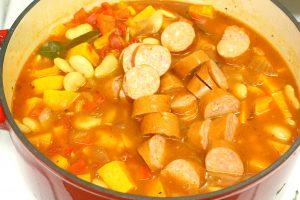 stew ingredients in pan cooking