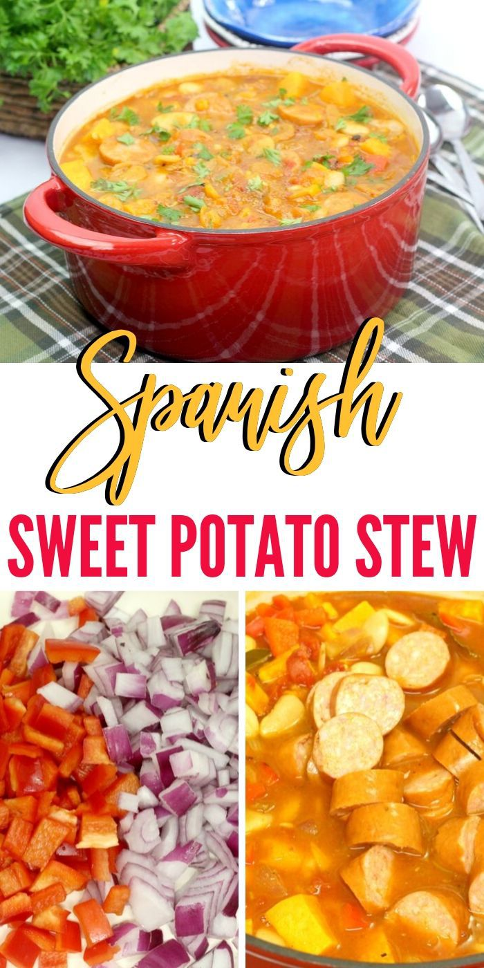 Enjoy the comfort of some fantastic Spanish Sausage Sweet Potato Stew. It's easy to make, full of flavor, and a true crowd-pleaser. #dinner #easy #stew #soup #healthy #sweetpotato