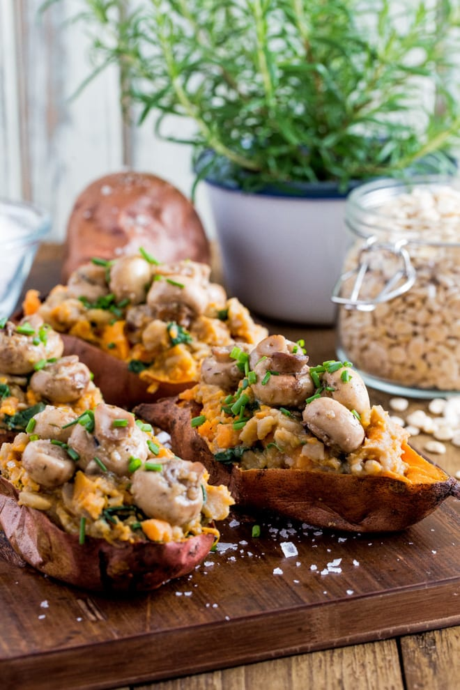 Garlic Mushroom Stuffed Sweet Potatoes