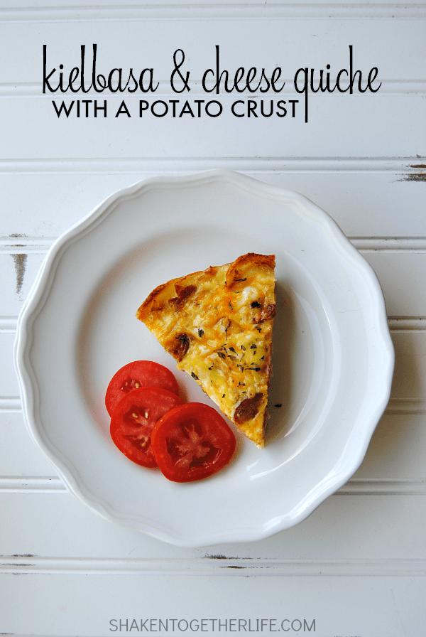 Kielbasa & Cheese Quiche with a Potato Crust
