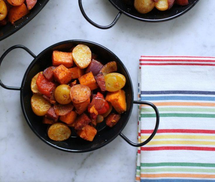 One Pan Little Potato Chorizo and Sweet Potato Hash