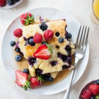 Lemon Blueberry Sheet Pan Pancakes (fluffy oven-baked pancakes)